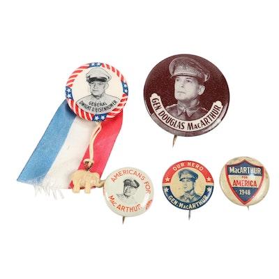 General Douglas MacArthur and Dwight Eisenhower U.S. Military Pinbacks, 1940s