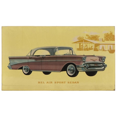 Chevy Bel Air Sport Sedan Dealership Advertising Off-Set Lithograph, 1950s