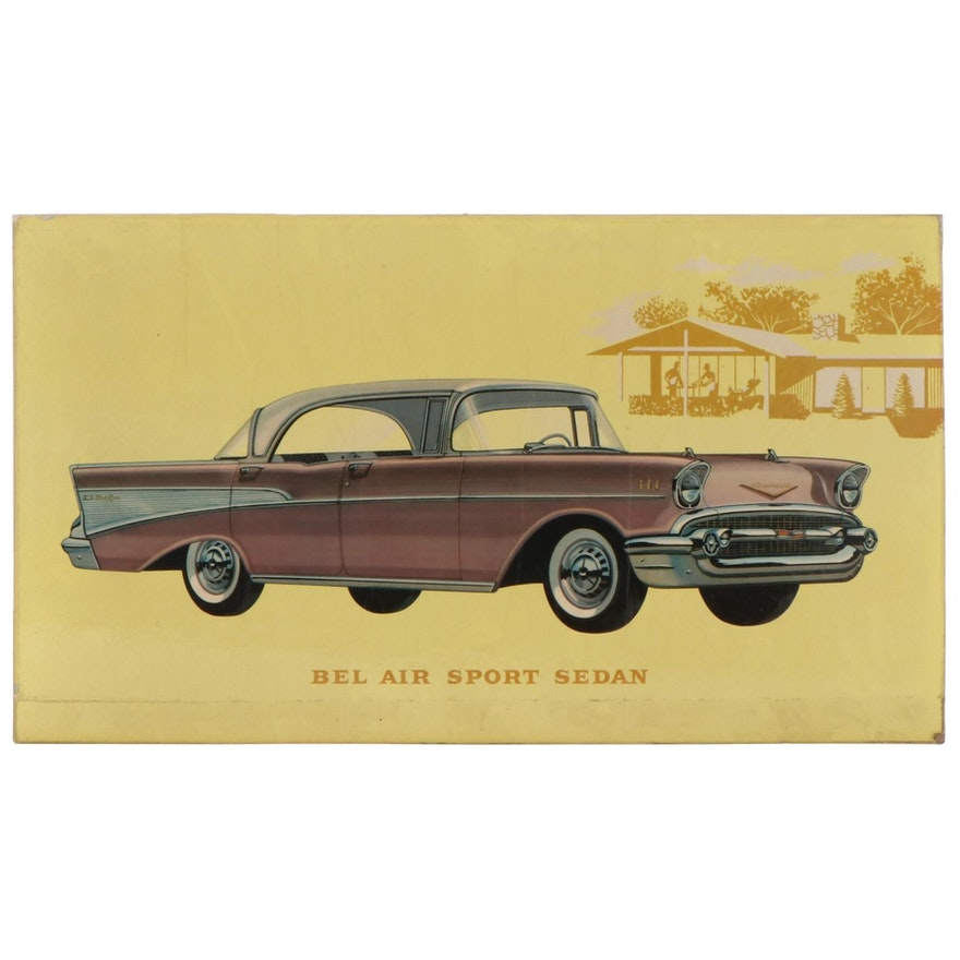 Chevy Bel Air Sport Sedan Dealership Advertising Off-Set Lithograph, 1950s