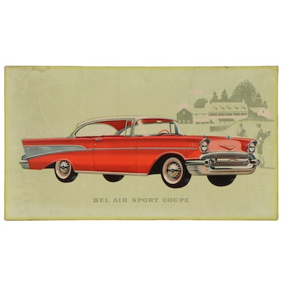Bel Air Sports Coupe Dealership Advertising Off-Set Lithograph, 1950s