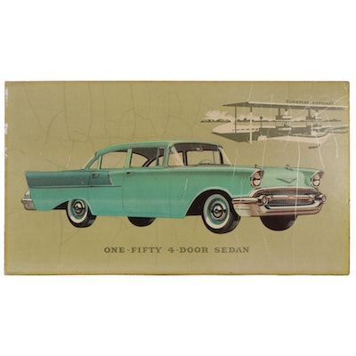 Chevy One-Fifty 4-Door Sedan Dealership Off-Set Lithograph, 1950s