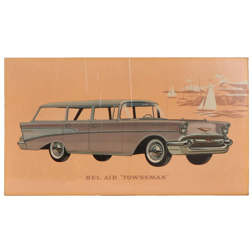 "Bel Air ""Townsman"" Dealership Advertising Off-Set Lithograph, 1950s"