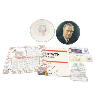 U.S. Presidential Items, F. Roosevelt, D. Eisenhower, Martha Washington, More