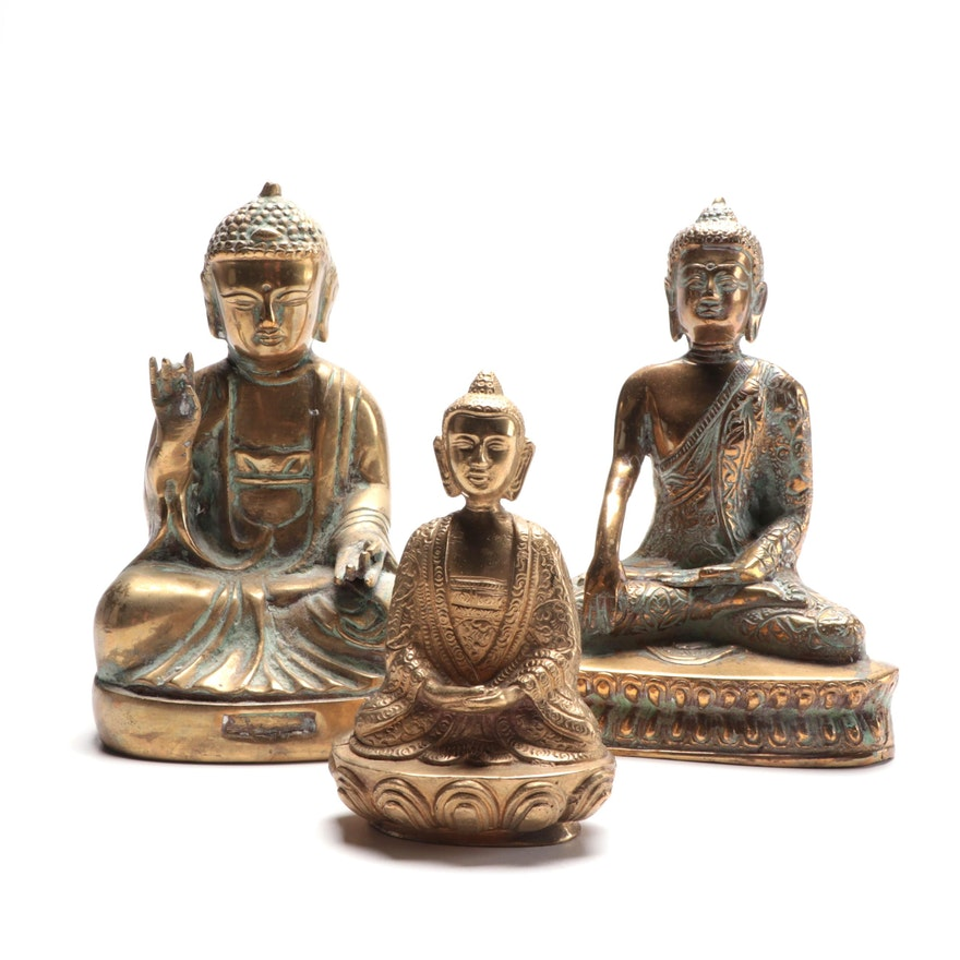 Brass Seated Buddhas,  Late 20th Century