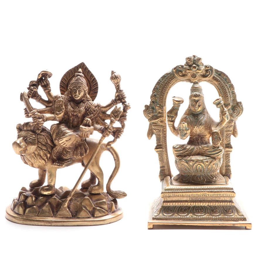"Hindu Deities ""Durga"" and ""Lakshmi"" Brass Figures, Early to Mid 20th C."