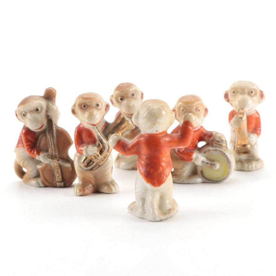 Japanese Porcelain Monkey Band Figurines