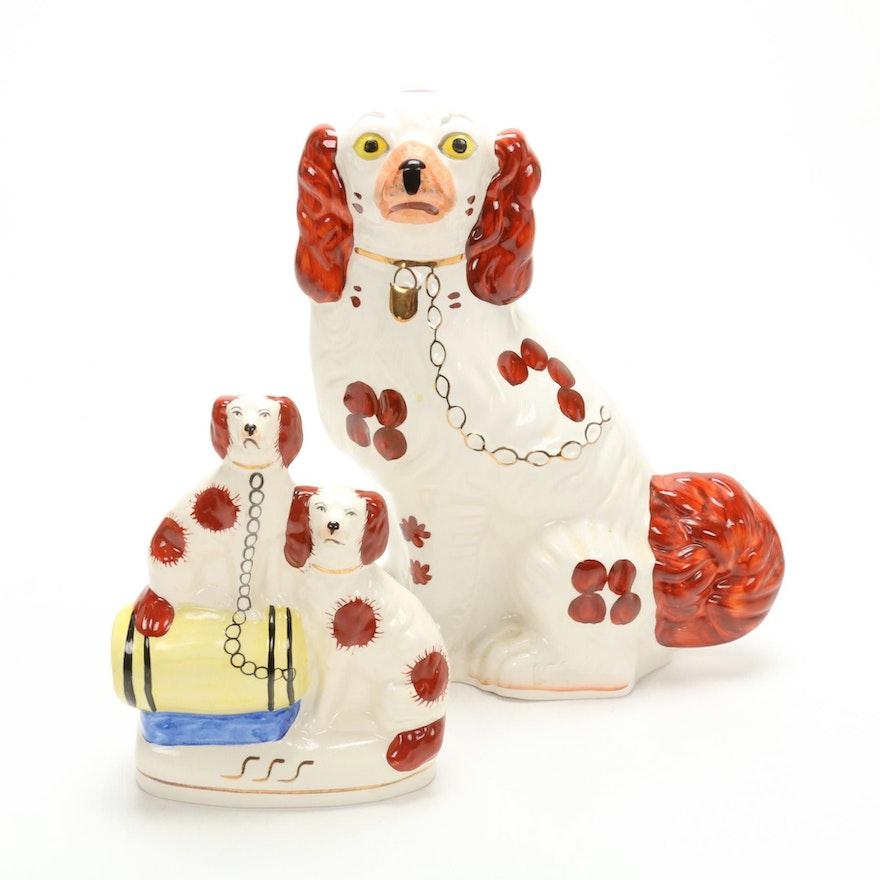 Staffordshire Style Dog Figurines, Mid-20th Century