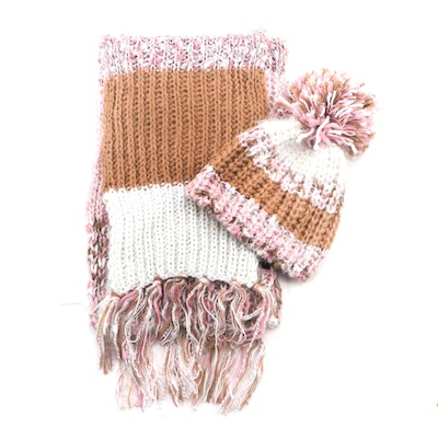 INC International Concepts Striped Knit Beanie and Scarf Set