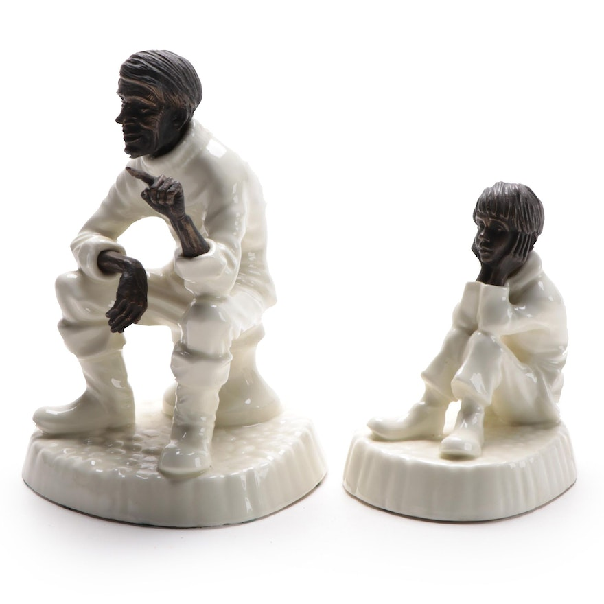 """Minton """"Travellers Tales"""" and """"Spellbound"""" Bone China and Bronze Figurines, 1978"""