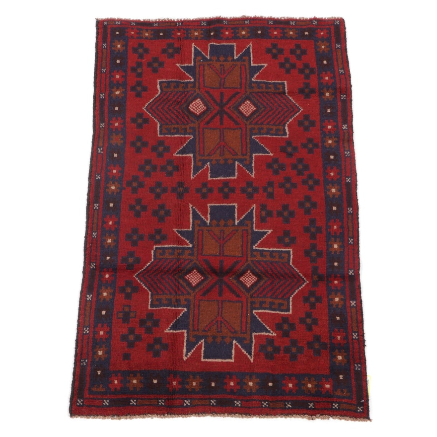 2'9 x 4'6 Hand-Knotted Afghan Balouch Tribal Rug