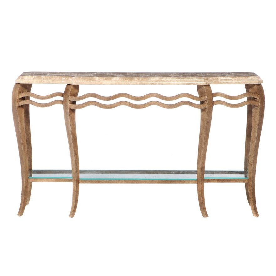 Contemporary Metal Framed Console Table with Marble Top and Glass Lower Shelf