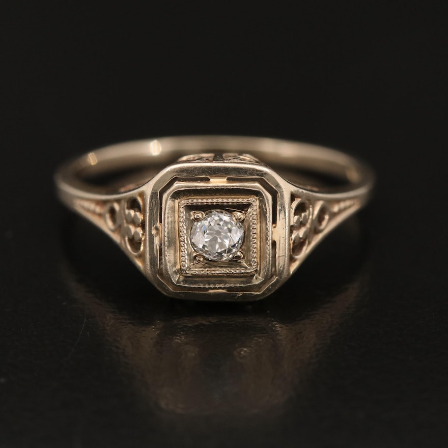 Early Art Deco 14K 0.10 CT Diamond Solitaire Ring