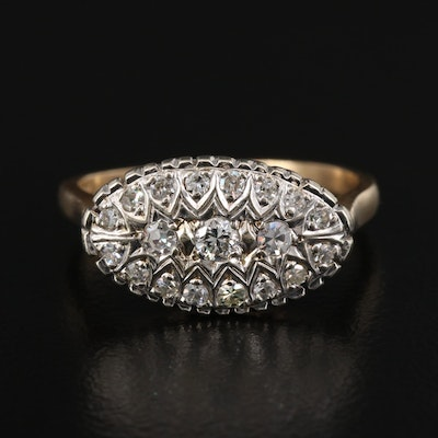 1940s 14K Diamond Cluster Ring