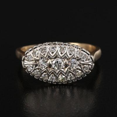 1940s 14K Diamond Cluster Ring