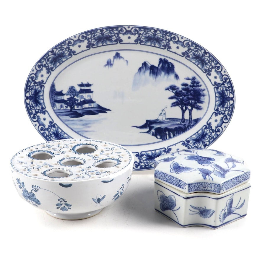 Mootahedeh Crocus Bowl and Other Blue and White Chinese Porcelain Decor