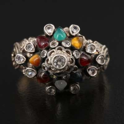 Topaz, Citrine and Chalcedony Domed Ring with 8K Shank
