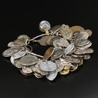 Vintage Bangle with Ecclesiastical Medals and Mustard Seed Charm