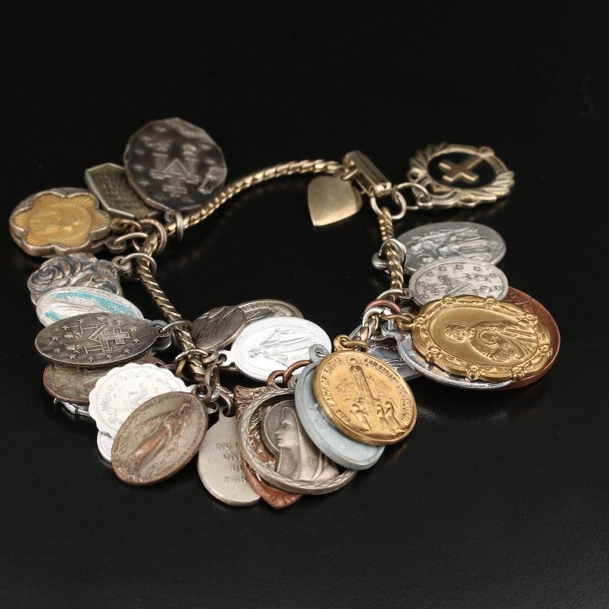 Religious Medallion Charm Bracelet with Enamel Accents