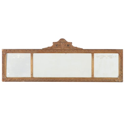 Nurre Mirror Plate Co. Giltwood, Composition, and Etched Glass Overmantel Mirror
