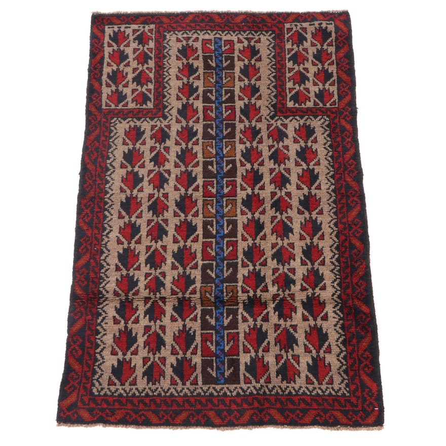 3' x 4'11 Hand-Knotted Afghan Balouch Prayer Rug