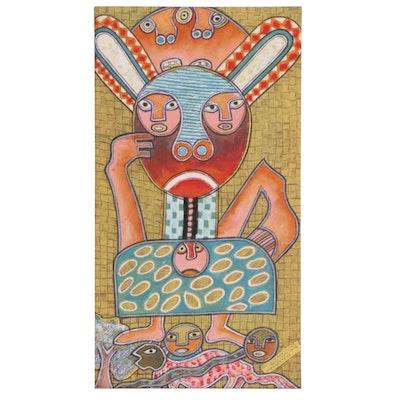 "Kayode Buraimoh Nigerian Mixed Media Folk Art Drawing ""Guiding Spirit,"" 2014"