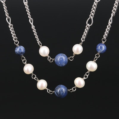 Sterling Pearl and Sodalite Double Strand Station Necklace