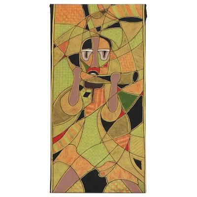 "Kayode Buraimoh Nigerian Acrylic and Ink Drawing ""More than a Hobby,"" 2017"
