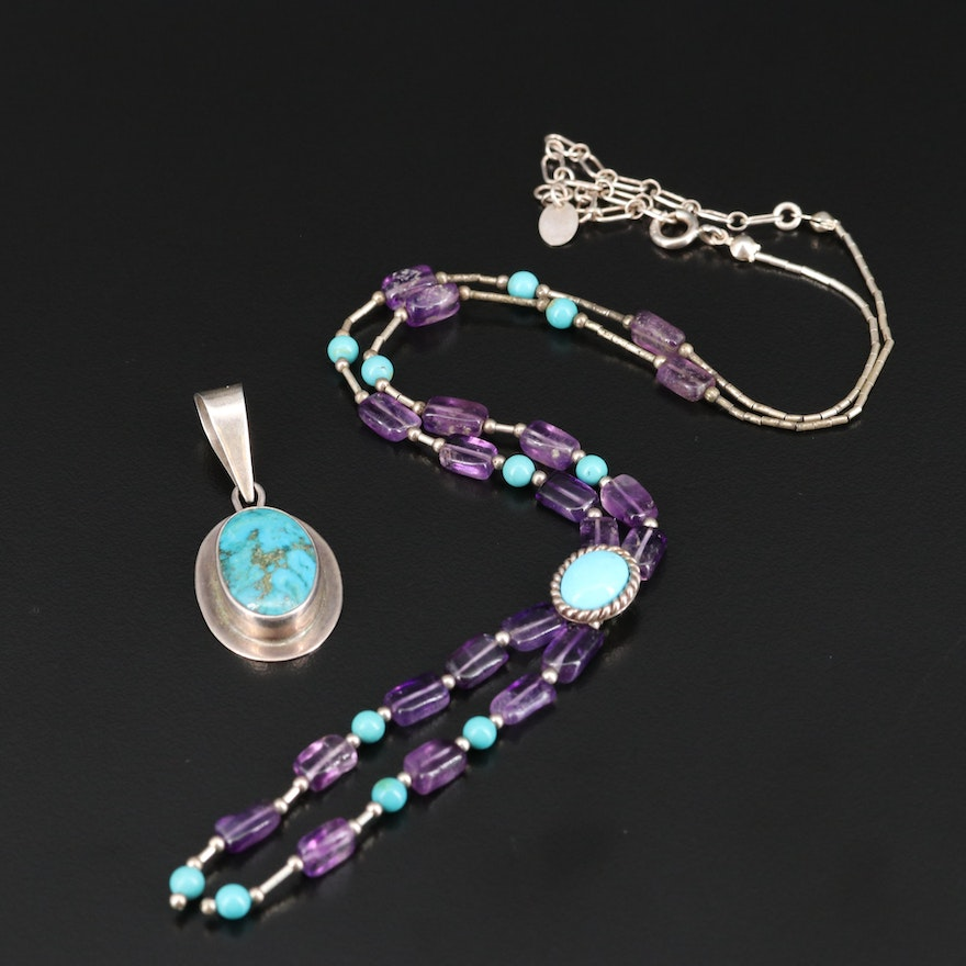 Western Sterling Turquoise Pendant and Relios Amethyst and Turquoise Necklace