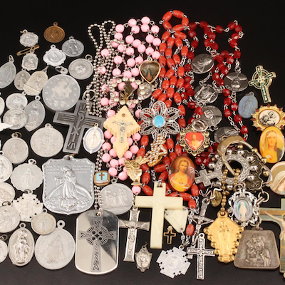 Religious Medallions, Rosaries and Jewelry Featuring Bone, Glass and Resin
