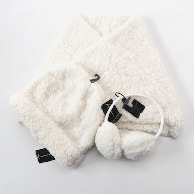 INC International Concepts Ivory White Infinity Cowl, Beanie and Earmuffs