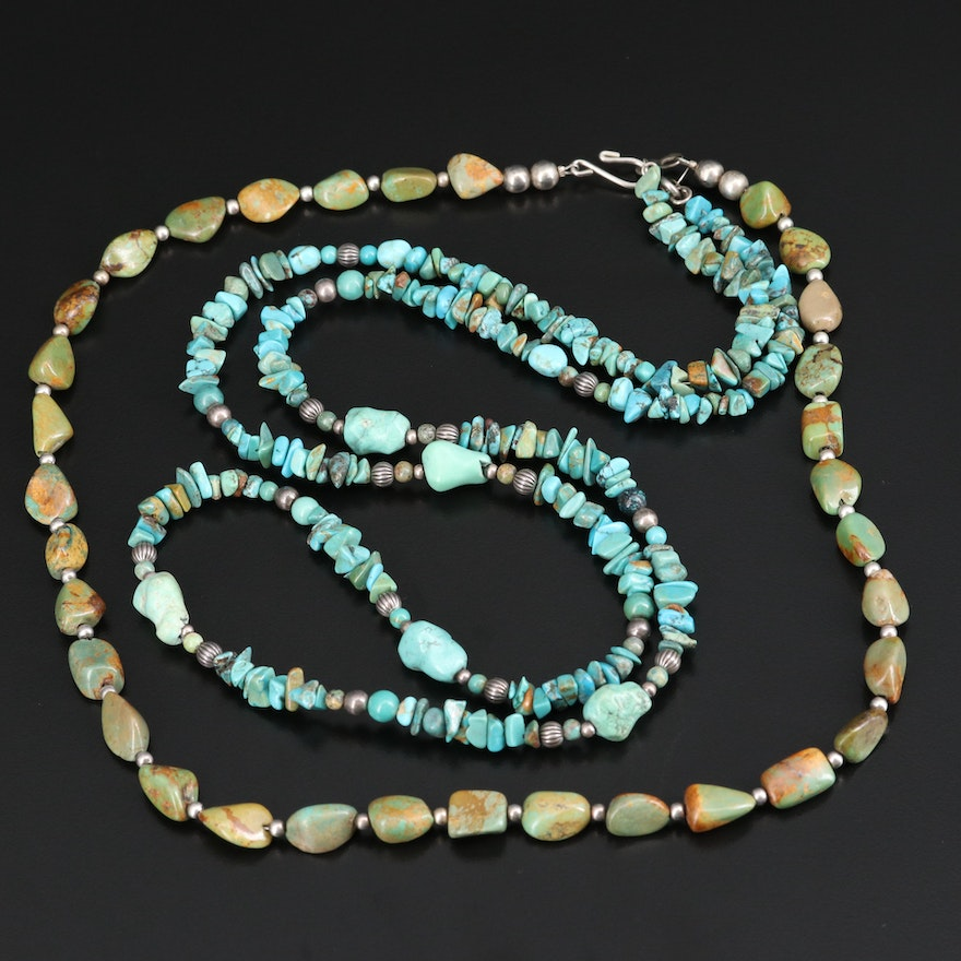 Turquoise Necklace and Relios Sterling Turquoise Necklace