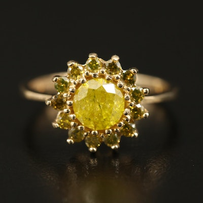 14K 1.33 CTW Diamond Halo Ring