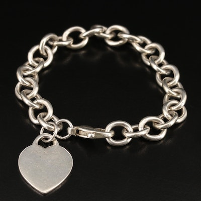 Sterling Charm Bracelet with Heart Charm