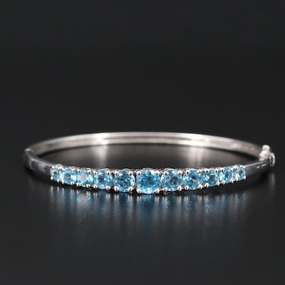 Sterling Topaz Hinged Bangle