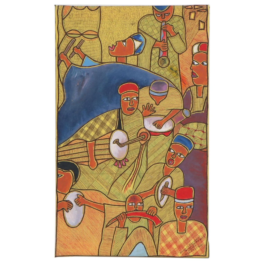 """Kayode Buraimoh Nigerian Acrylic and Ink Drawing """"Music: The Food of Love,"""" 2005"""