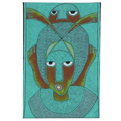 "Kayode Buraimoh Nigerian Acrylic and Ink Drawing ""Elevation,"" 2015"