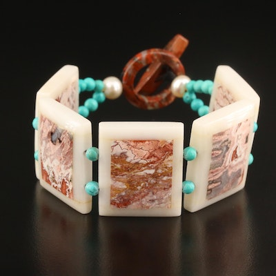 Gemstone Panel Bracelet Featuring Jasper, Agate, Turquoise and Pearl