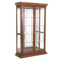Pulaski Furniture Oak and Glass Display Cabinet, Late 20th Century