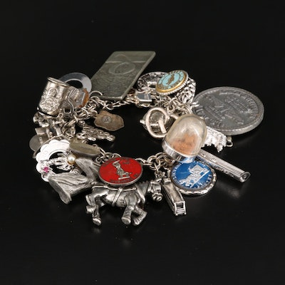Sterling Charm Bracelet Featuring 10K Bell Charm and Diamond Accents