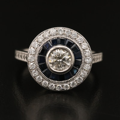Platinum Diamond and Sapphire Double Halo Ring