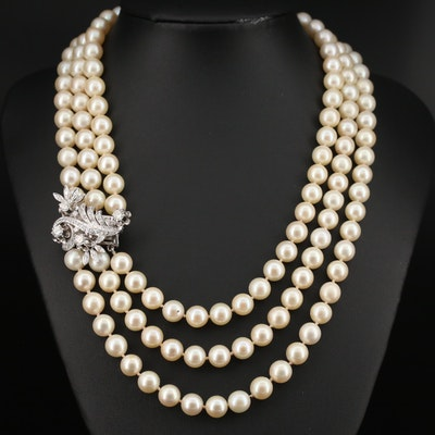 1950s Pearl Triple Strand Necklace with 14K 1.69 CTW Diamond Converter Clasp