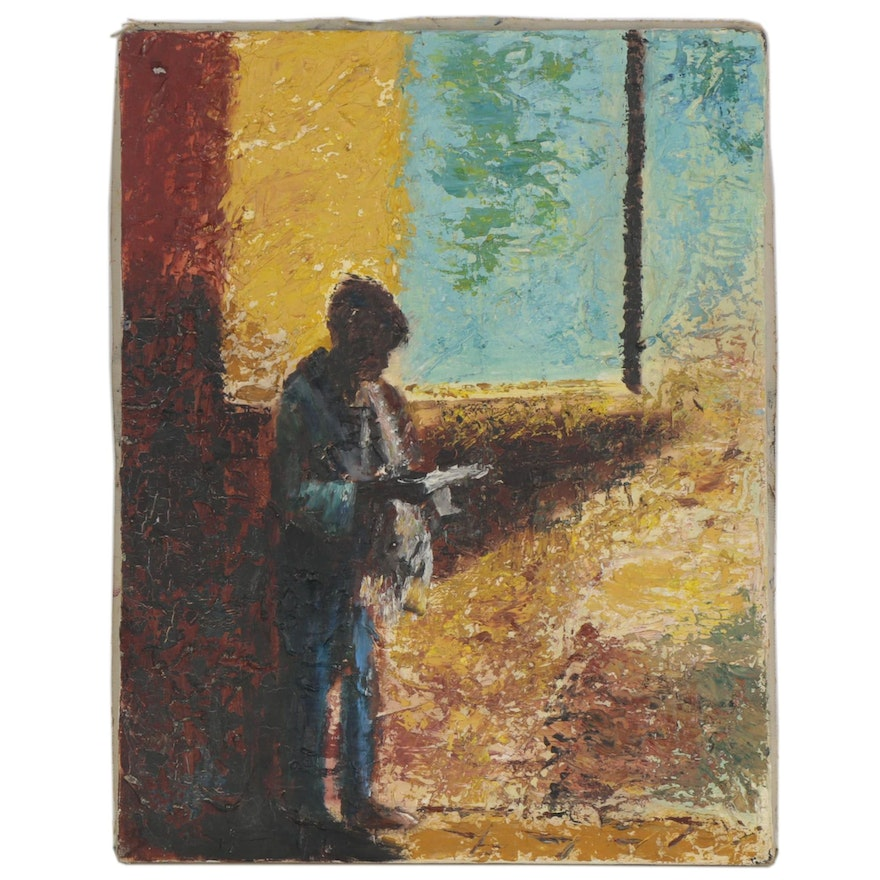 """Impasto Oil Painting """"Letter Arrived,"""" Late 20th Century"""