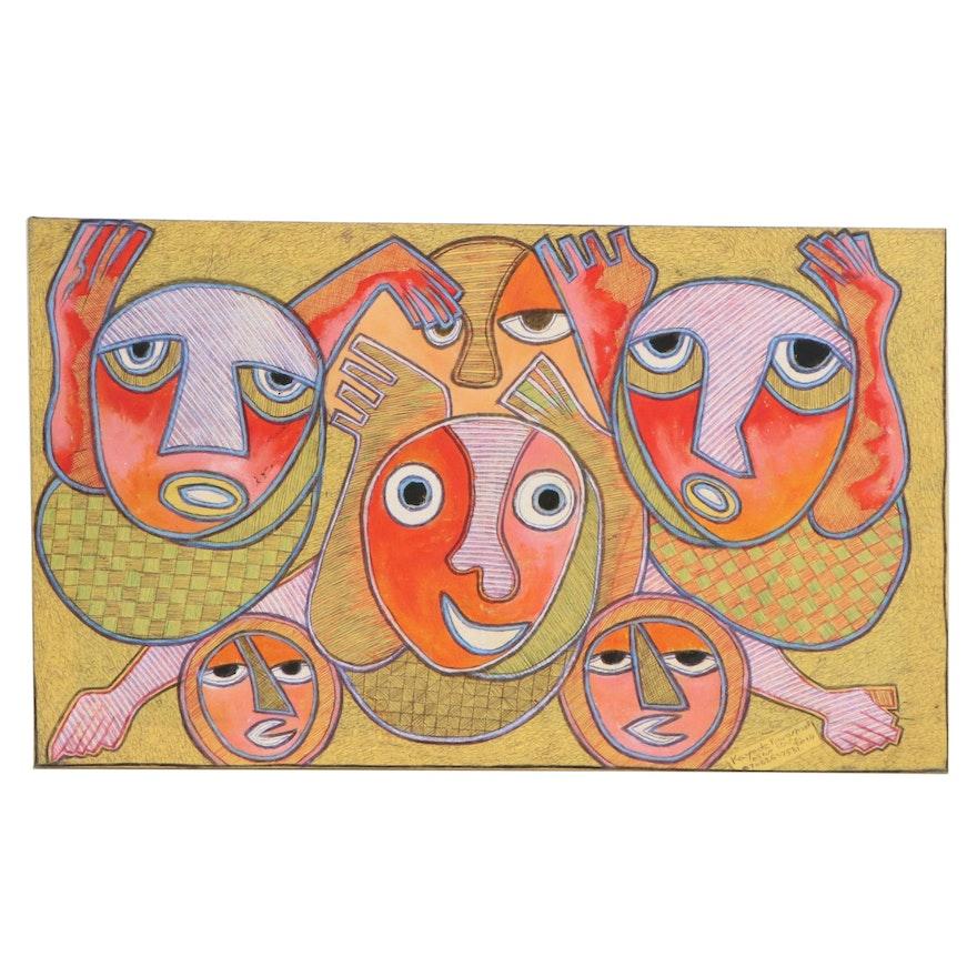 "Kayode Buraimoh Nigerian Acrylic and Ink Drawing ""Joyous Family,"" 2014"