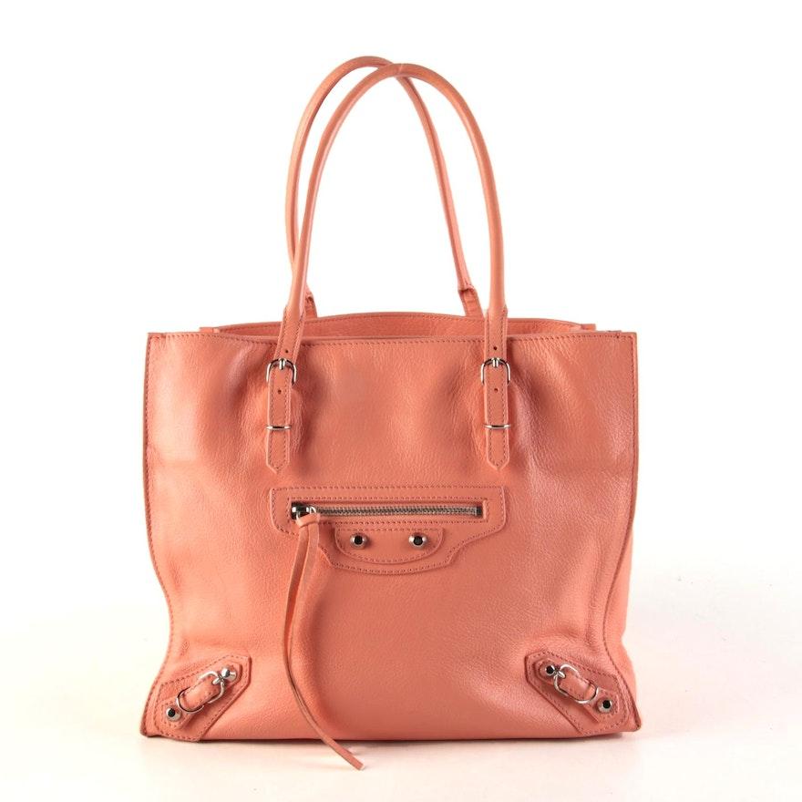 Balenciaga Mini Papier A4 Satchel in Coral Calfskin Leather