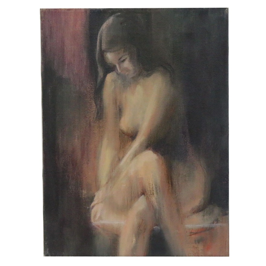 Expressionist Style Oil Painting of Nude Study in Color