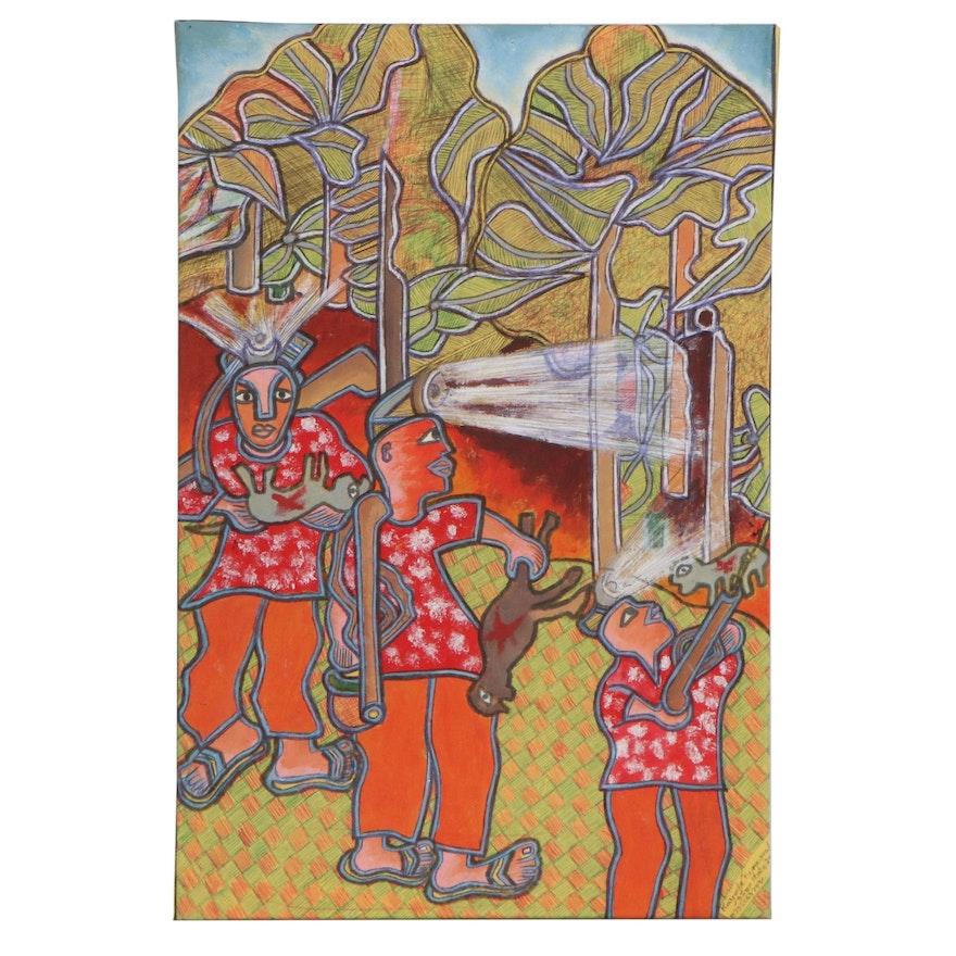 """Kayode Buraimoh Acrylic and Ink Drawing """"Hunting,"""" 2014"""