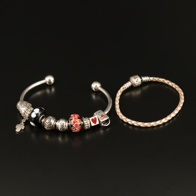 Charm Cuff with Enamel, Murano Glass and Pandora Leather Braided Bracelet