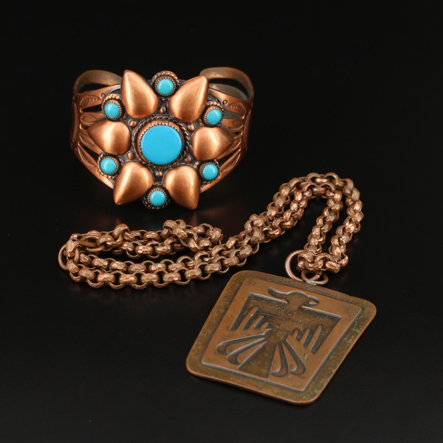Vintage Southwestern Style Copper Turquosie Cuff and Thunderbird Rolo Necklace