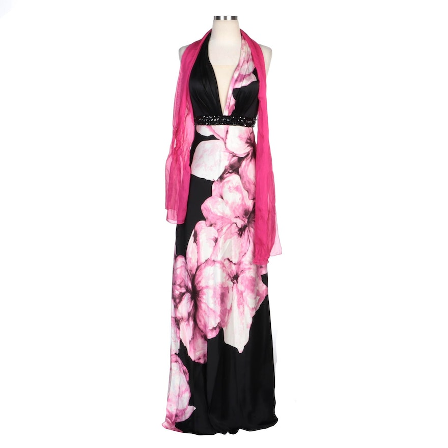 Alberto Makali Floral Printed and Beaded Silk Halter Gown with Shoulder Wrap