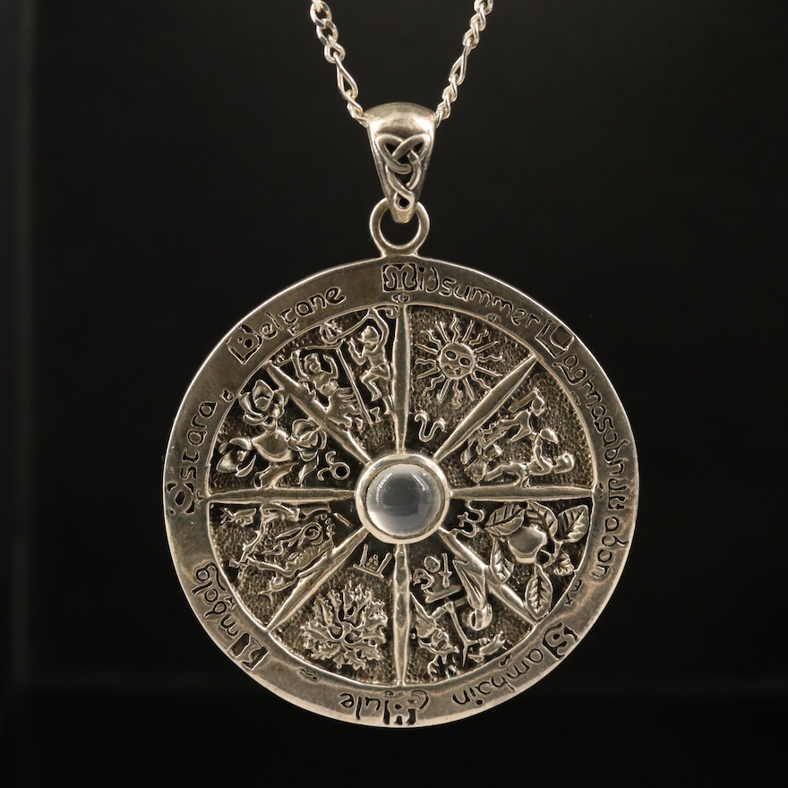 Sterling Wheel of the Year Necklace with Moonstone